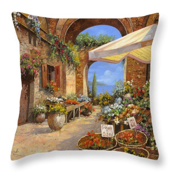 Il Mercato Del Lago Throw Pillow by Guido Borelli