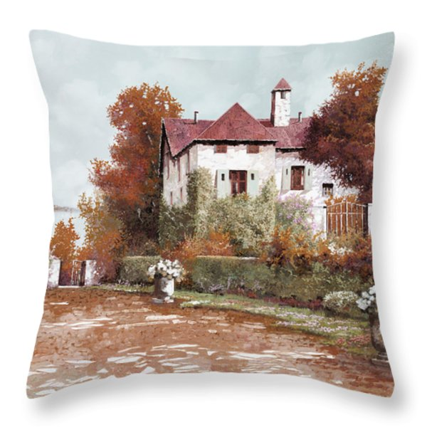Il Palazzo In Autunno Throw Pillow by Guido Borelli