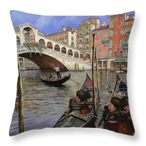 Il Ponte Di Rialto Throw Pillow by Guido Borelli