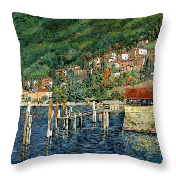 il porto di Bellano Throw Pillow by Guido Borelli
