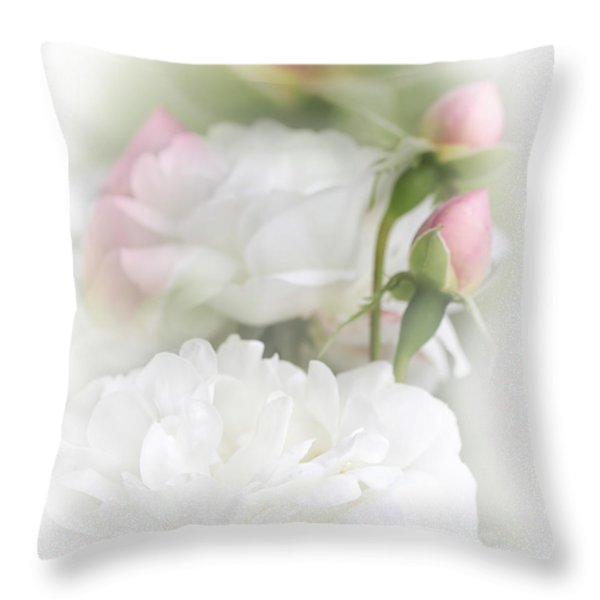 Illusions of White Roses and Pink Rosebuds Throw Pillow by Jennie Marie Schell