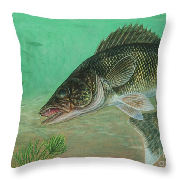 Illustration Of A Walleye Swimming Throw Pillow by Carlyn Iverson