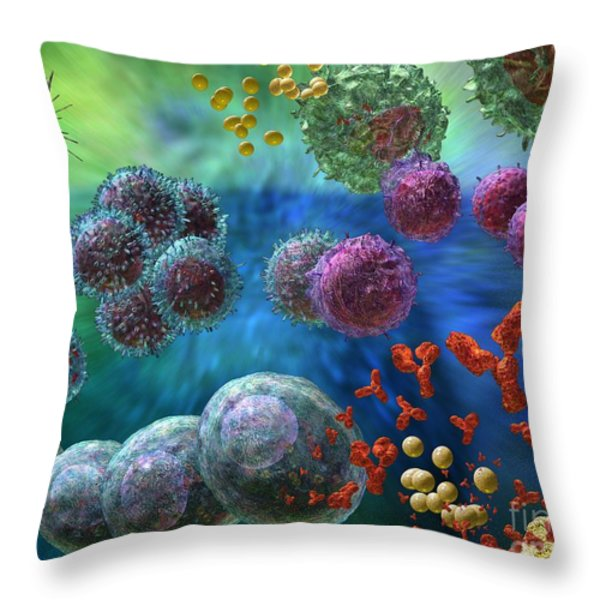 Immune Response Antibody 4 Throw Pillow by Russell Kightley
