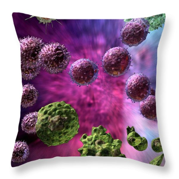 Immune Response Cytotoxic 4 Throw Pillow by Russell Kightley