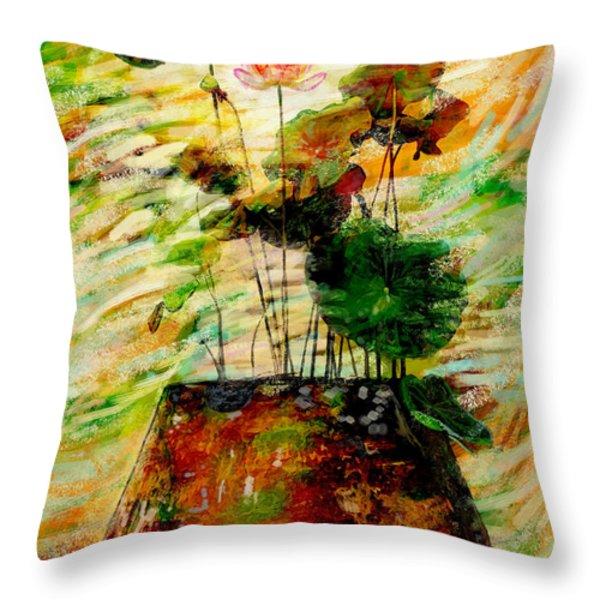 Impression In Lotus Tree Throw Pillow by Atiketta Sangasaeng