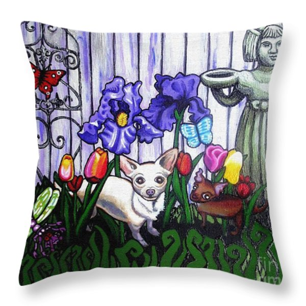 In The Chihuahua Garden Of Good And Evil Throw Pillow by Genevieve Esson