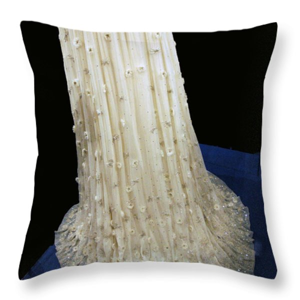 Inaugural gown train on display Throw Pillow by LeeAnn McLaneGoetz McLaneGoetzStudioLLCcom