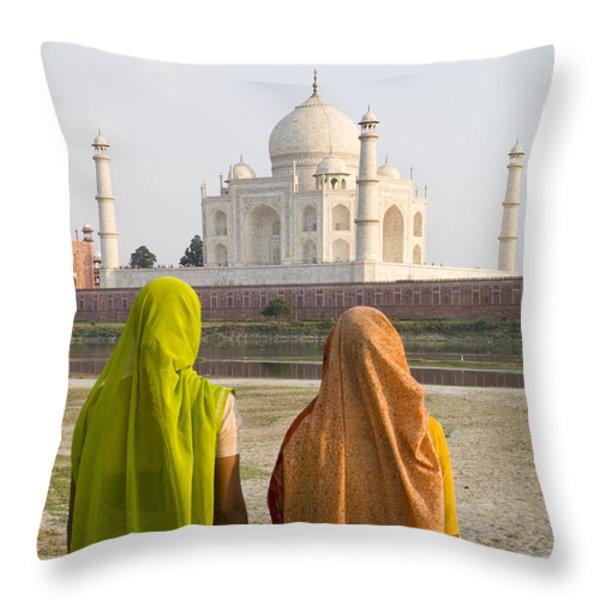 indu women at the Taj Mahal Throw Pillow by Bill Bachmann - Printscapes