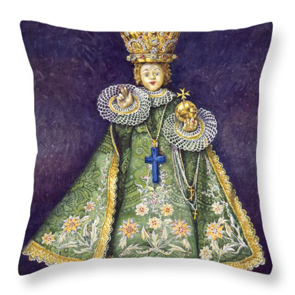 Infant Jesus Of Prague Throw Pillow by Yuriy  Shevchuk