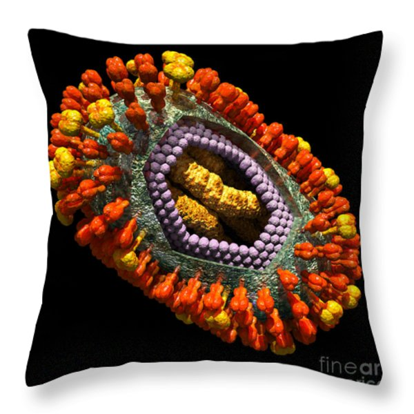 Influenza Virus Cutaway 5 Throw Pillow by Russell Kightley