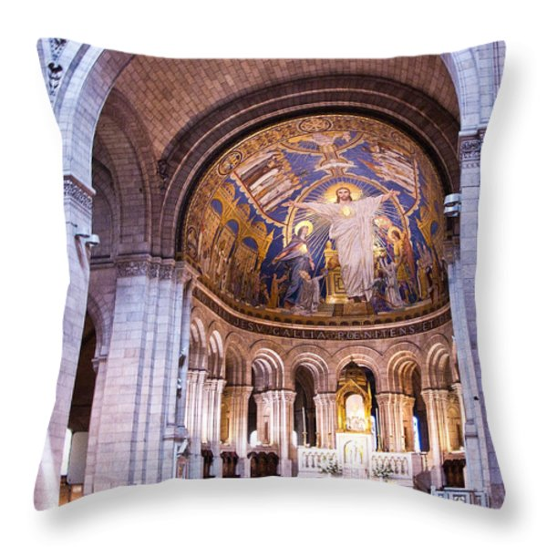 Interior Sacre Coeur Basilica Paris France Throw Pillow by Jon Berghoff