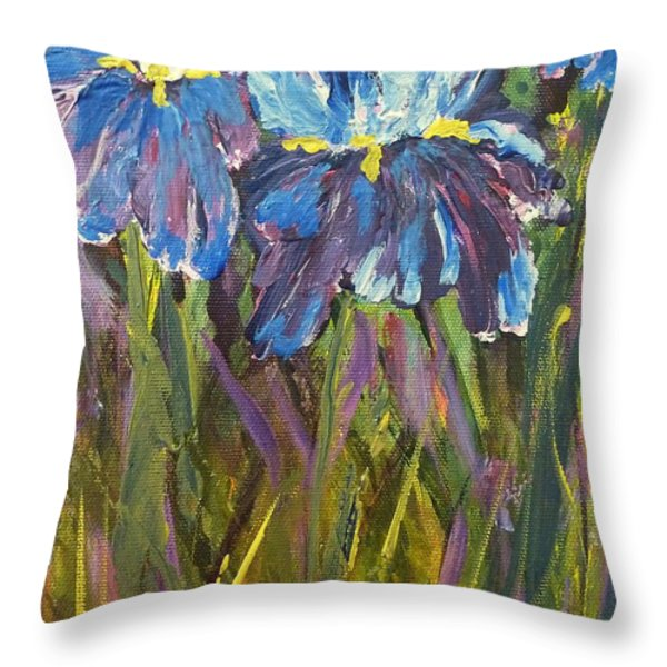 Iris Floral Garden Throw Pillow by Claire Bull