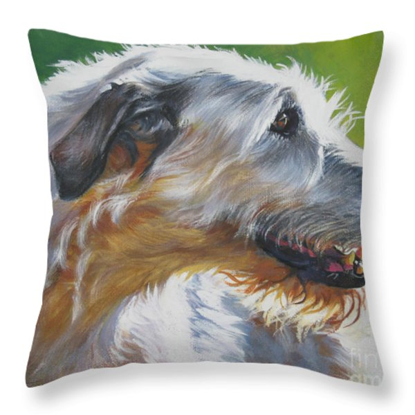 Irish Wolfhound Beauty Throw Pillow by L A Shepard