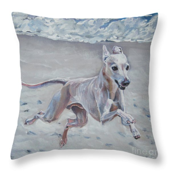 Italian Greyhound on the Beach Throw Pillow by Lee Ann Shepard