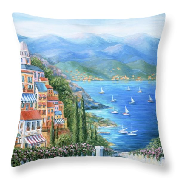 Italian Village By The Sea Throw Pillow by Marilyn Dunlap