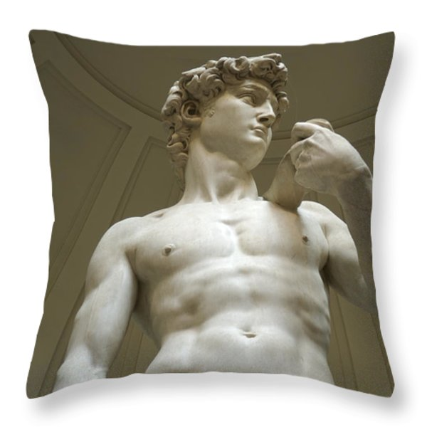 Italy, Florence, Statue Of David Throw Pillow by Sisse Brimberg & Cotton Coulson