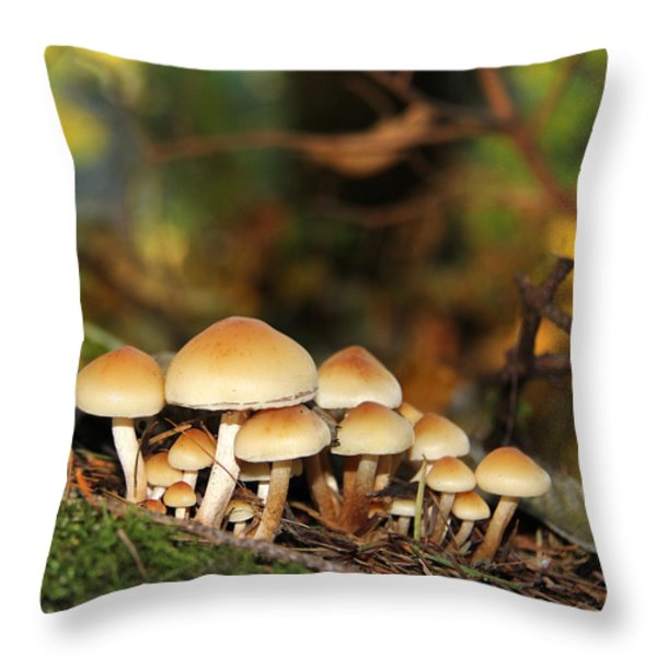 It's a Small World Mushrooms Throw Pillow by Jennie Marie Schell