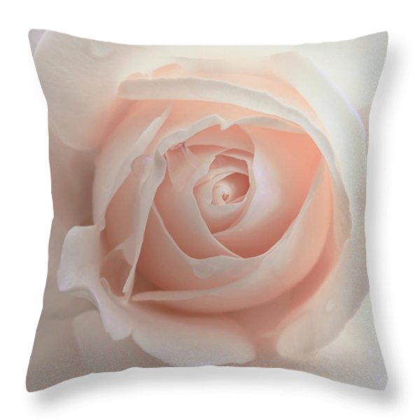 Ivory Peach Pastel Rose Flower Throw Pillow by Jennie Marie Schell