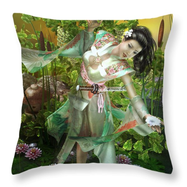 Jade Throw Pillow by Mary Hood