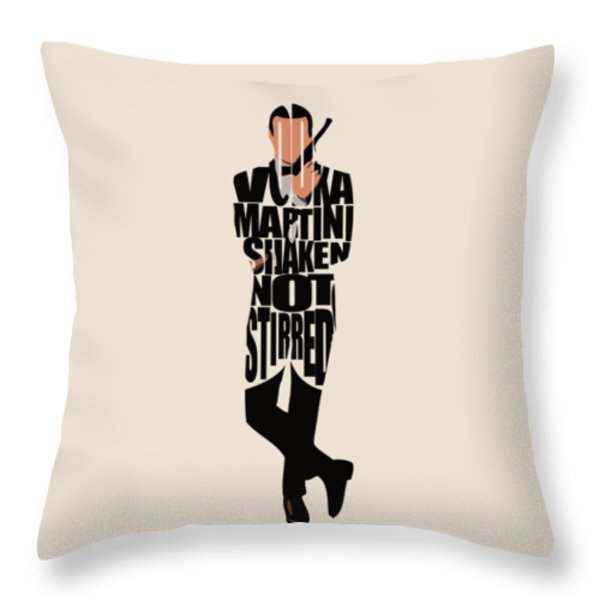 James Bond Throw Pillow by Ayse Deniz