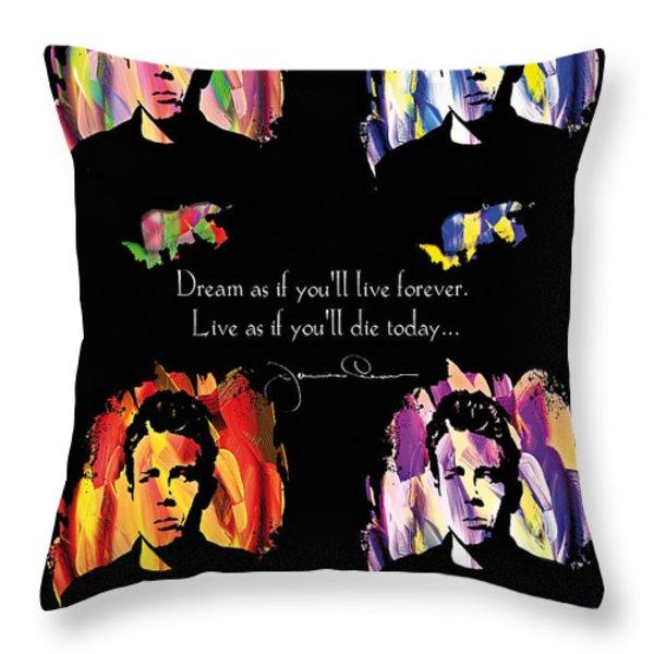 James Dean Throw Pillow by Mo T