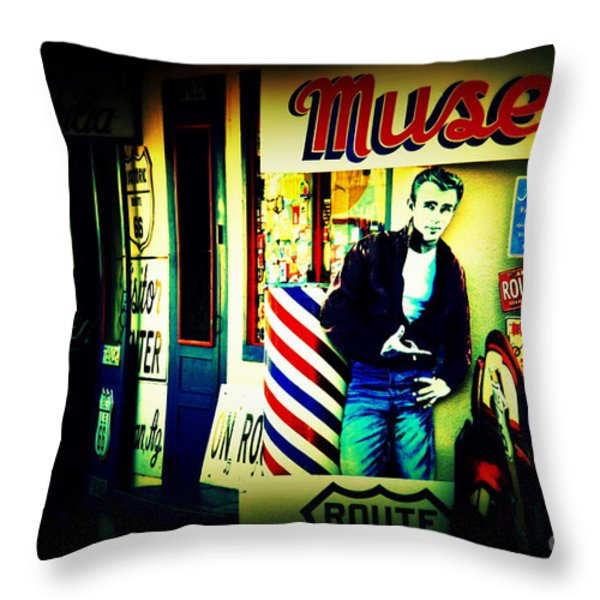 James Dean on Route 66 Throw Pillow by Susanne Van Hulst