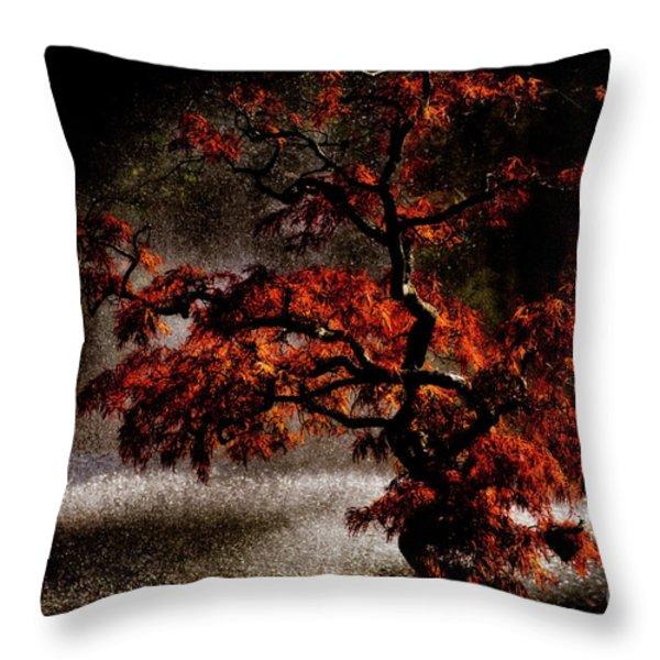 Japanese Maple Throw Pillow by Venetta Archer