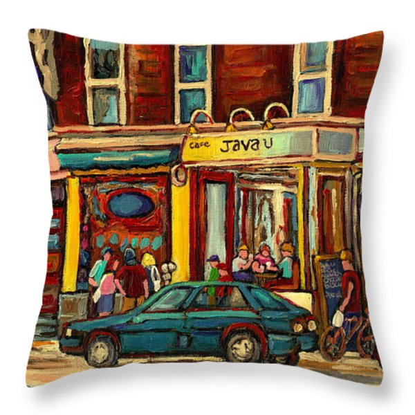 JAVA U COFFEE SHOP MONTREAL PAINTING BY STREETSCENE SPECIALIST ARTIST CAROLE SPANDAU Throw Pillow by CAROLE SPANDAU