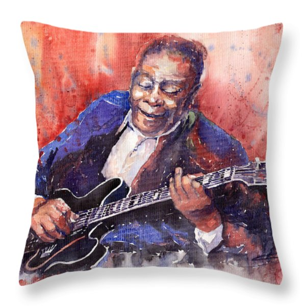 Jazz B B King 06 a Throw Pillow by Yuriy  Shevchuk