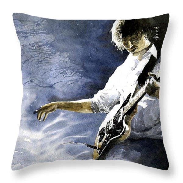Jazz Guitarist Last Accord Throw Pillow by Yuriy  Shevchuk