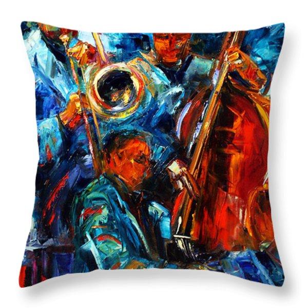 Jazz Pals Throw Pillow by Debra Hurd