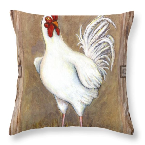Jed The Rooster Throw Pillow by Linda Mears
