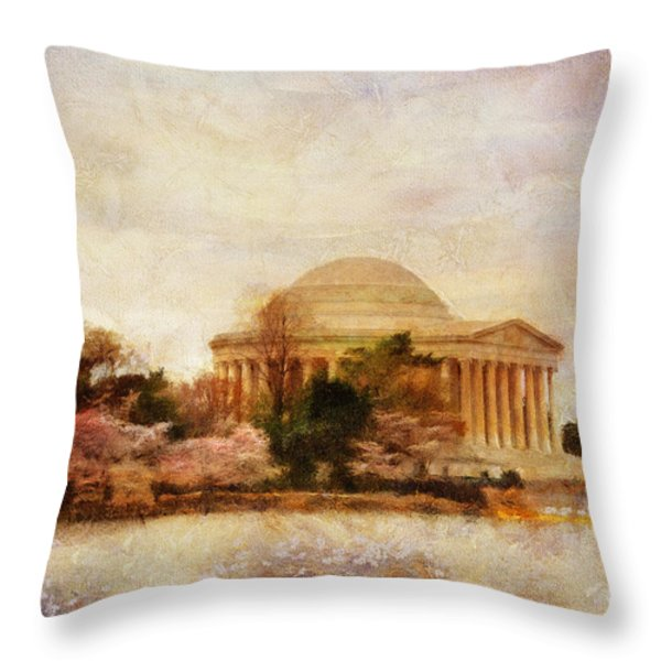 Jefferson Memorial Just Past Dawn Throw Pillow by Lois Bryan
