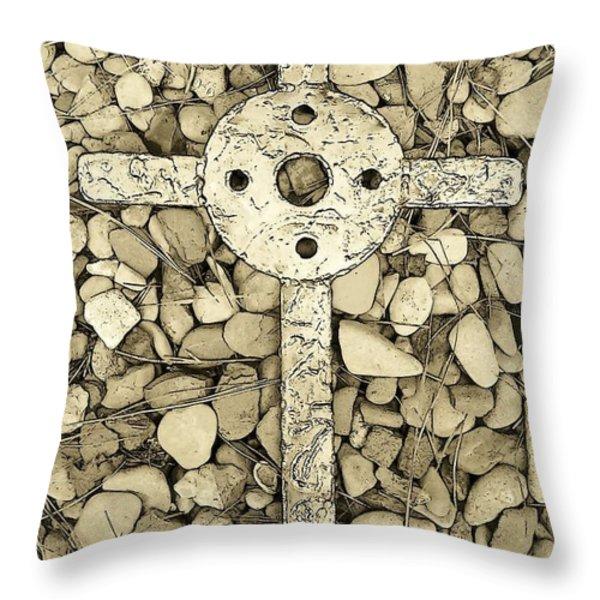 Jerusalem Cross in Sepia Tone Throw Pillow by Deborah  Montana