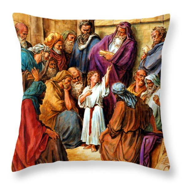 Jesus as a Child Throw Pillow by John Lautermilch