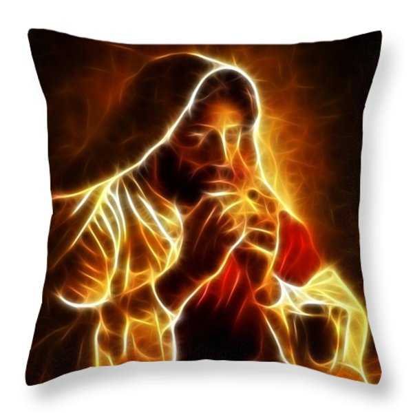 Jesus Christ Last Supper Throw Pillow by Pamela Johnson
