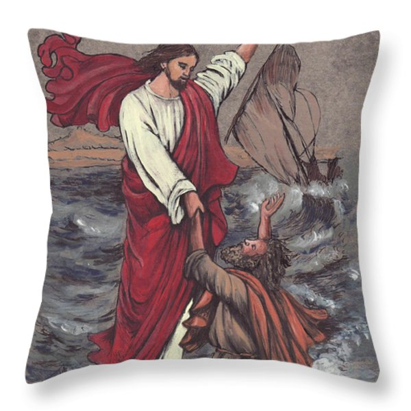 Jesus Saves Peter Throw Pillow by Morgan Fitzsimons