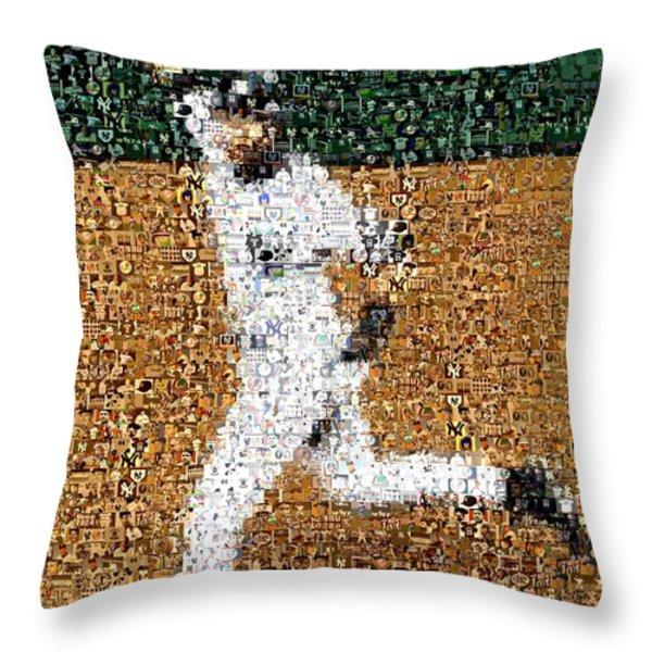 Jeter Walk-Off Mosaic Throw Pillow by Paul Van Scott