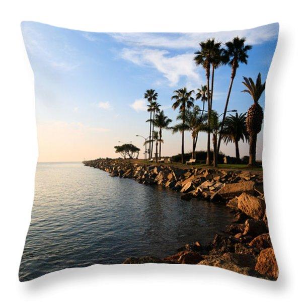 Jetty on Balboa Peninsula Newport Beach California Throw Pillow by Paul Velgos