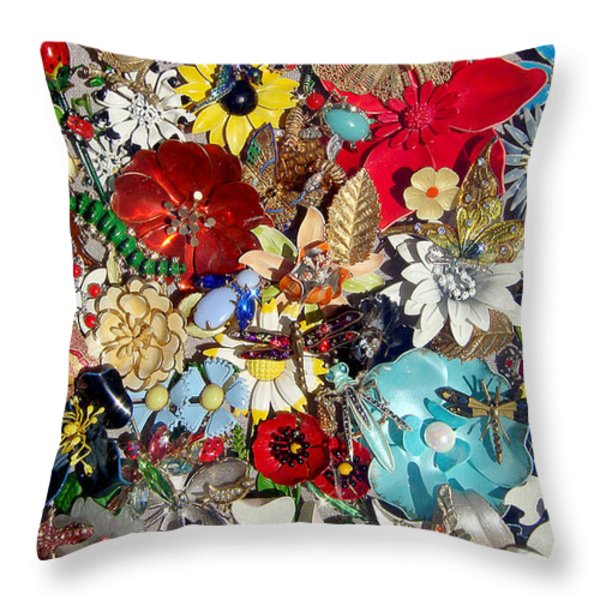Jeweled Garden Throw Pillow by Donna Blackhall