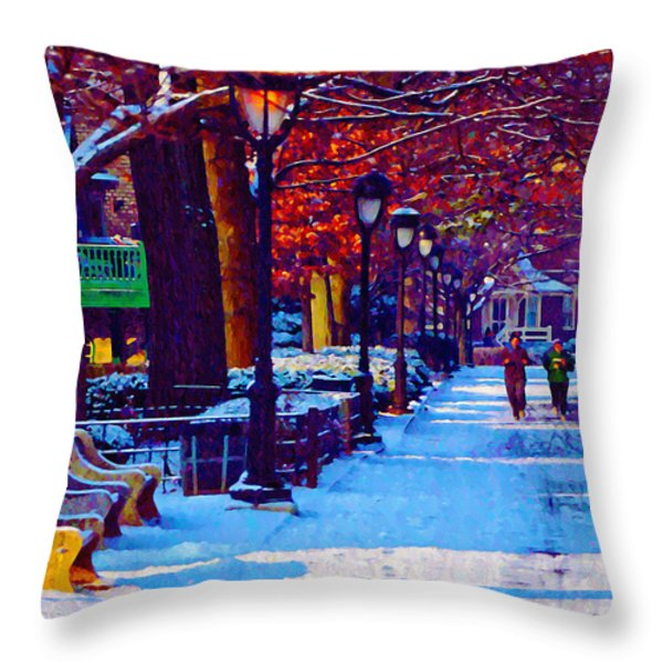 Jogging in the Snow Along Boathouse Row Throw Pillow by Bill Cannon