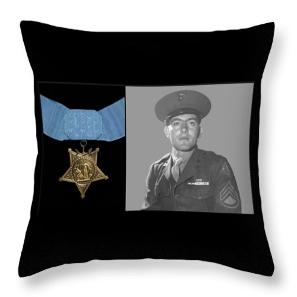 John Basilone and The Medal of Honor Throw Pillow by War Is Hell Store