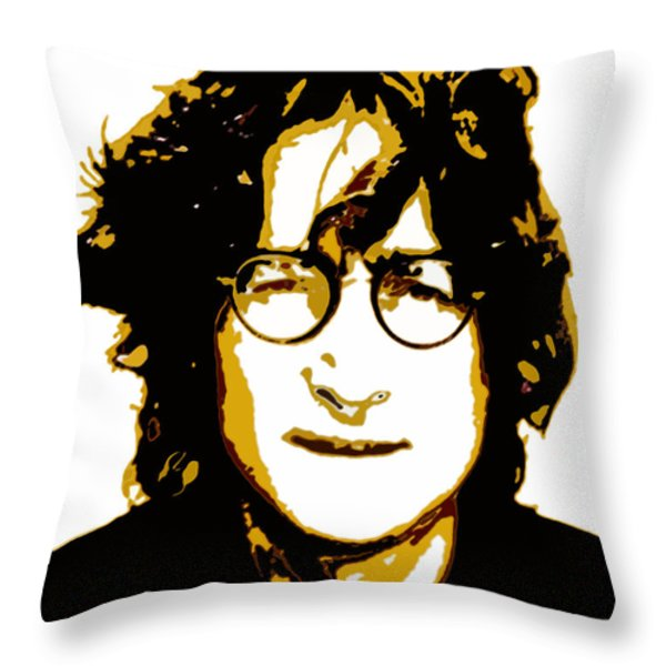John Lennon In Shades Of Brown Throw Pillow by Jera Sky
