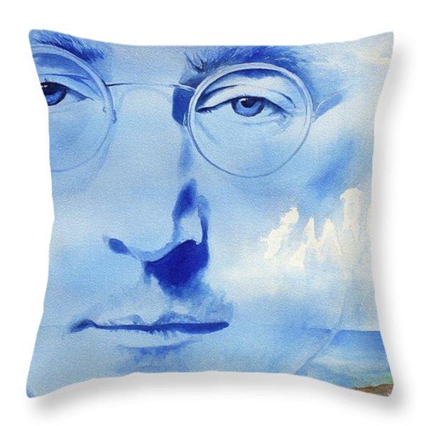 John Lennon Throw Pillow by Ken Meyer jr