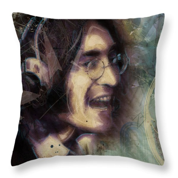 John Lennon Tribute- Don't Let Me Down Throw Pillow by David Finley
