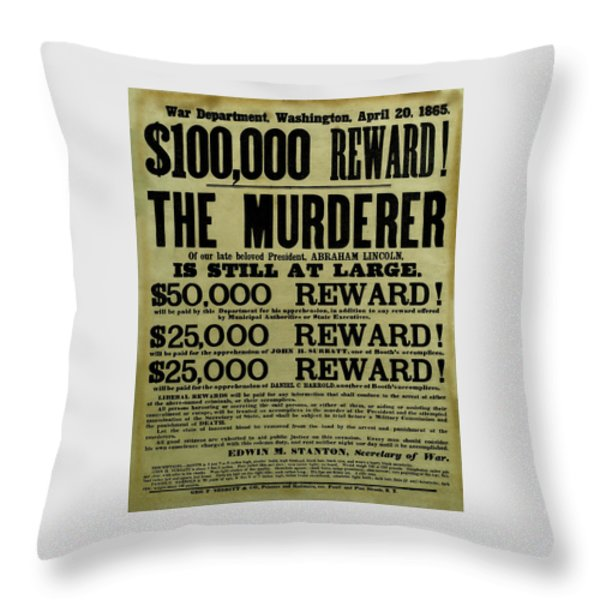 John Wilkes Booth Wanted Poster Throw Pillow by War Is Hell Store