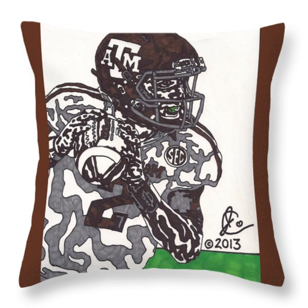 Johnny Manziel 8 Throw Pillow by Jeremiah Colley