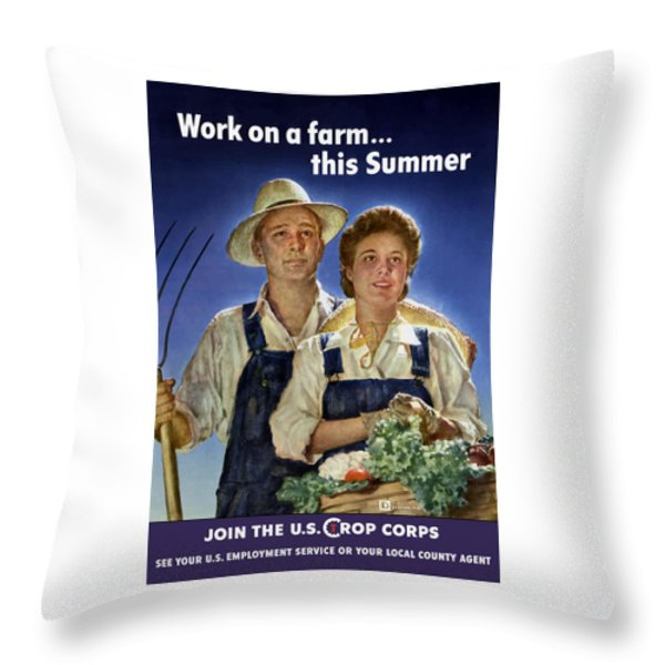 Join The U.s. Crop Corps Throw Pillow by War Is Hell Store