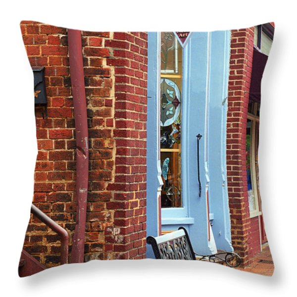 Jonesborough Tennessee Main Street Throw Pillow by Frank Romeo
