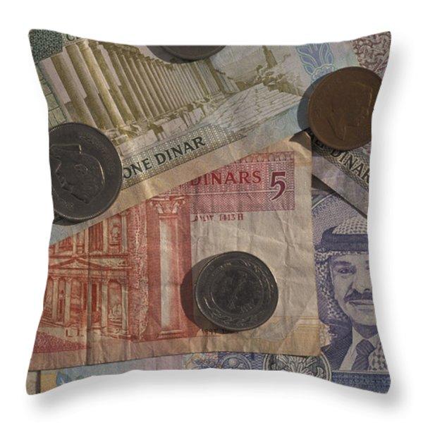 Jordan Currency Throw Pillow by Richard Nowitz